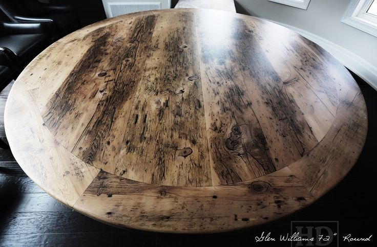 Reclaimed Wood Round Pedestal Table Glen Williams Georgetown Gray Grey Colour of Un finished with epoxy finish by HD Threshing Floor Furniture