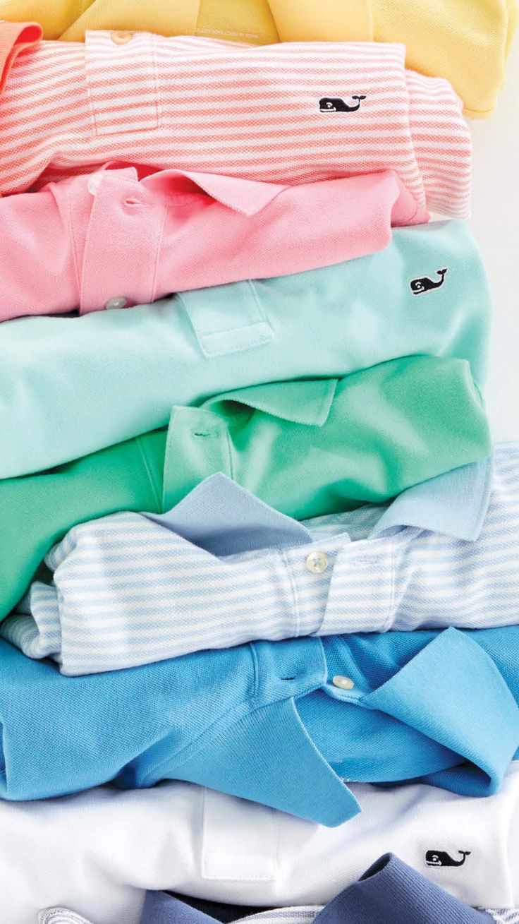 It's summer. You will need polo shirts. In pastels. Lots of shirts in lots of pastels, like these from Vineyard Vines.