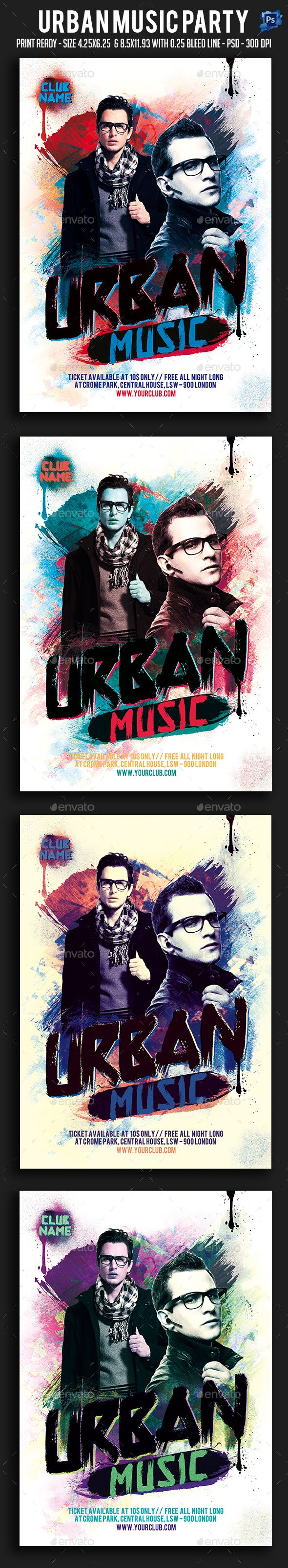 Urban Music #Party #Flyer - Clubs & Parties #Events Download here: https://graphicriver.net/item/urban-music-party-flyer/19541781?ref=alena994