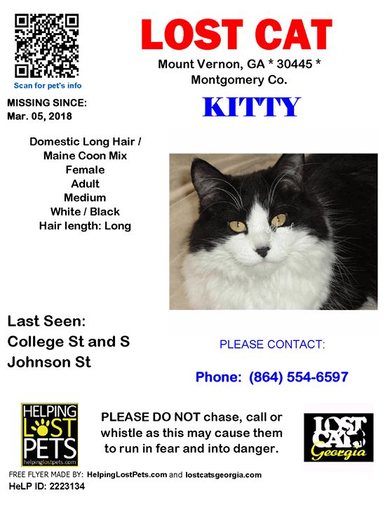 NOTE: Lost while we stayed at the hotel while traveling.  Lost Cat - Mount Vernon GA. - March 5 2018 Closest Intersection - College St & S Johnson St County - Montgomery  #LOSTCAT #Kitty #MountVernon (College St & S Johnson St)  #GA 30445 #Montgomery Co.  #Cat 03-05-2018! Female #Domestic Long Hair / Maine Coon Mix White / Black/Los5 at Mt. Vernon Inn and Suites  CONTACT Phone: (864) 554-6597  More Info Photos and to Contact: http://ift.tt/2FBLSKi  To see this pets location on the…