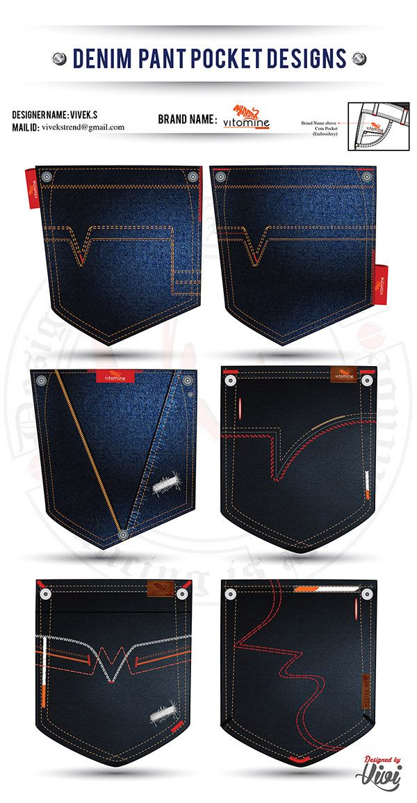 Denim Pocket Designs especially for Mens Jeans Pocket and also it is specially mind to Create to a UNIQUE Brand Thought for individual Brand!!! And Various Stitches of the Pockets Immitates Their Brand Unique to show its individuality Quitely!!!! :) :) :)…
