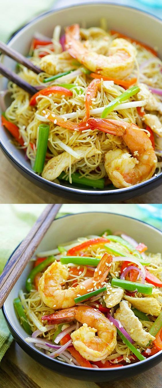 Singapore Noodles – curry-flavored fried rice noodles with chicken and shrimp. The BEST Singapore noodle recipe to try at home   rasamalaysia.com