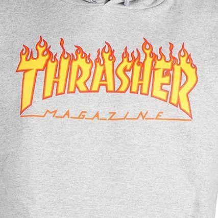 Thrasher - Sweat Capuche Flame Gris Chiné - LaBoutiqueOfficielle.com
