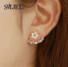 SMJEL 2017 Fashion Jewelry Cute Cherry Blossoms Flower Stud Earrings for Women Several Peach Blossoms Earrings  S129 //FREE Shipping Worldwide //
