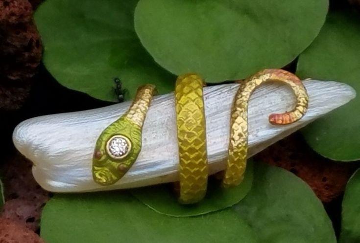 Rare Antique Art Deco Krementz Pearl Diamond Snake Enamel 14k Gold Brooch Pin | eBay