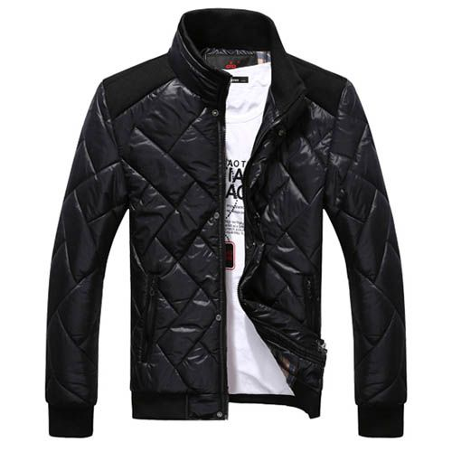 Blouson Veste Homme Matelasse a col Mandarin Fashion Classe Jacket winter Noir