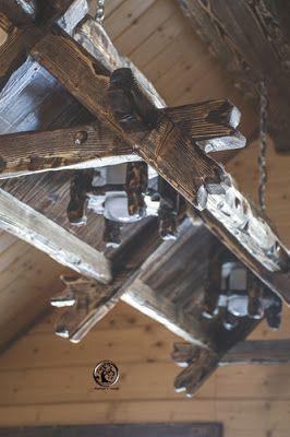 Wooden chandelier. Деревянная люстра.