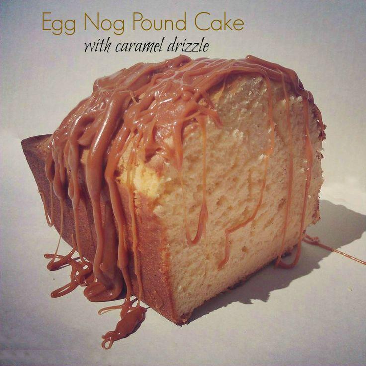 Egg Nog Pound Cake with Caramel Drizzle #EggNog #Recipe #Christmas