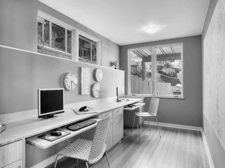 comfy grey home office nuance with long office desk drawers designing computer table home office IKEA furniture and patterned chairs, Magnificent IKEA office Furniture by Wooden Material Simple Concept: Furniture