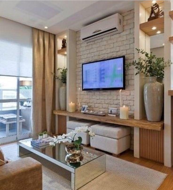 Inspiração Para Sala, Prateleira Com Pufes Embaixo · Tv UnitsBedroom Tv Wall Tv Wall Ideas Living ...