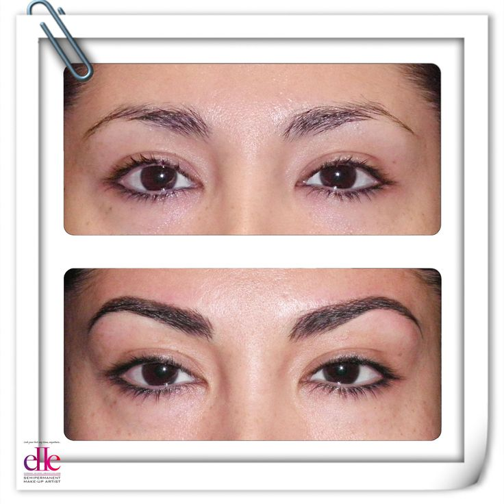 BEFORE and AFTER: for a more fuller look, get model brows with semipermanent makeup