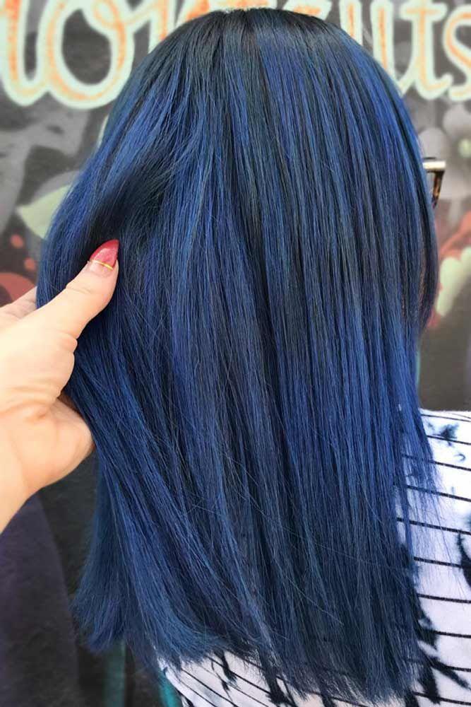 Ink Blue Black Straight Blueblackhair Darkbluehair Want To