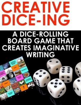 Creative Dice-ing: A Board Game for Creating Imaginative Writing  Roll the dice and create something amazing!  This is a roll the dice board game for ELA Creative Writing. It consists of a vibrant grid full of images, words and phrases to provoke outside-the-box thinking.