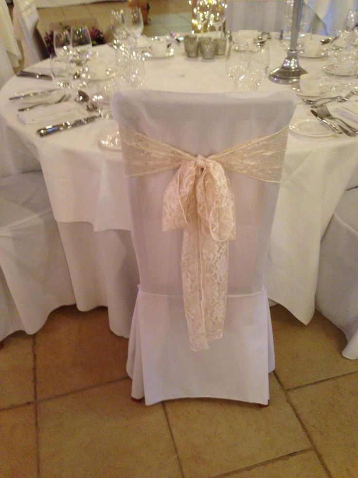 New lace chair bow, great for vintage weddings at a Rivervale Barn by Fuschia.