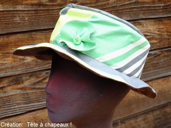 CHAPEAU DE PLUIE EN COTON ENDUIT GRIS /VERT/BLANC : Chapeau, bonnet par tete-a-chapeaux