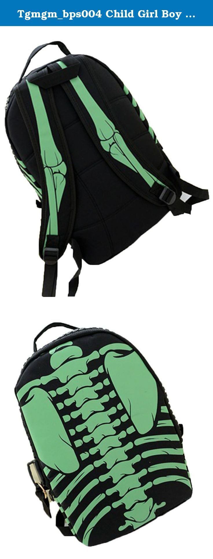 Tgmgm_bps004 Child Girl Boy Skull Bone Backpack Foldable Leisure Bag (Black-Green). This Backpack provides powerful breathable system, so the heat could quickly spread out. Thick surface layer of the shoulder strap is designed to relieve muscle and force the spine.