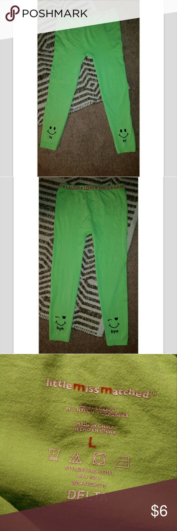 Little Miss Matched Girls Leggings Sz. L (Girls) Very cute and fun neon green leggings for girls. Nylon/Spandex material, can fit a smaller junior size!  Size L Girls little miss matched Bottoms Leggings
