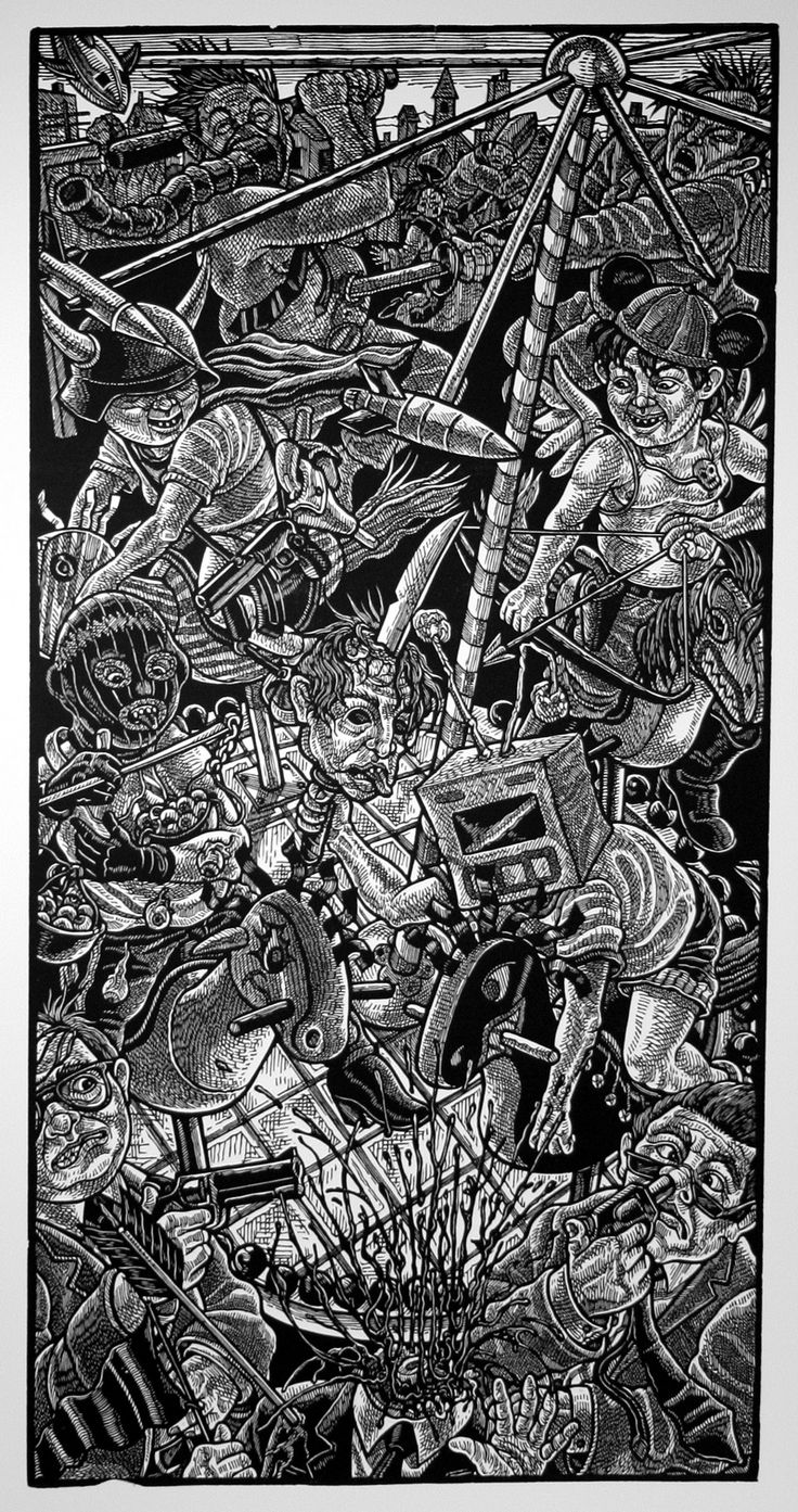 "Tom Huck. ""All Aboard the Scary Go Round"", 2007 Linocut. #1 of 25, Printed by Eldon Cunningham, Published by Metro State College, Denver, CO  Purchased from Evil Prints."