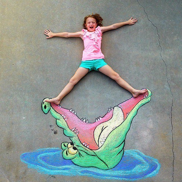 You Won't Believe What This Dad Can Do With Sidewalk Chalk: Most of us can make pretty decent rainbows, flowers, or butterflies with our kiddo's sidewalk chalk, but one dad's use of the chalky medium is like nothing we've ever seen before.