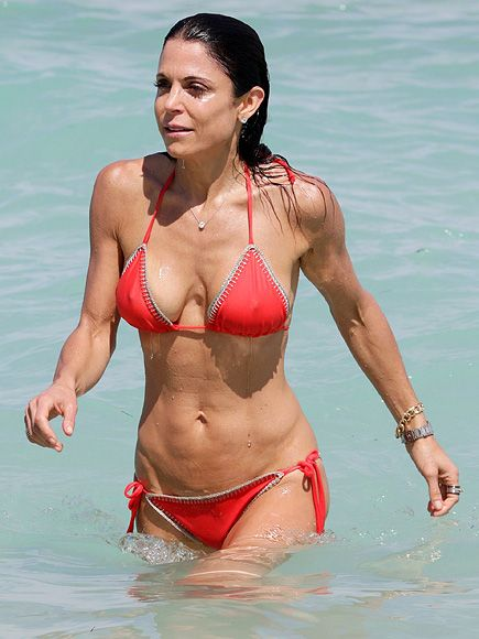 10 Celebs Who Are Pros at Rocking Swimwear at Any Age | BETHENNY FRANKEL, 45 | The Real Housewives of New York star is ready for her close-up while soaking up the sun in a red string bikini on Miami Beach.