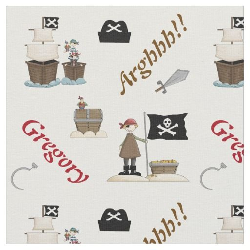 Pirates and pirate ship personalized with name fabric. #fabric #pirates