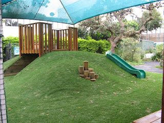 A multi-purpose mound for running, climbing, rolling and sitting. The fenced apex and tunnel can be utilized by children as private areas for the individual or group. The mound also doubles as makeshift seating for performances on the stage/outdoor classroom.