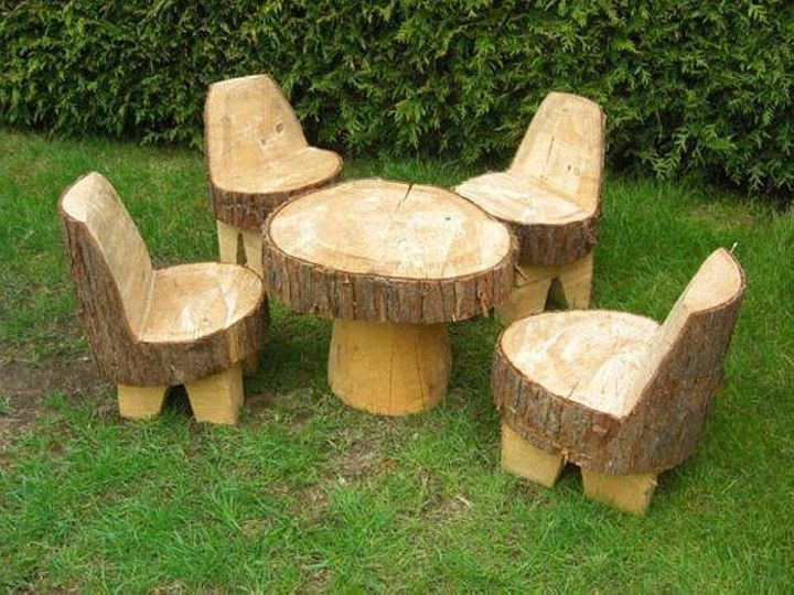 tables and chairs from tree trunks LOVE it!! | Stuff for the Campsite |  Pinterest | Tree trunks, Tables and Playground - Tables And Chairs From Tree Trunks LOVE It!! Stuff For The