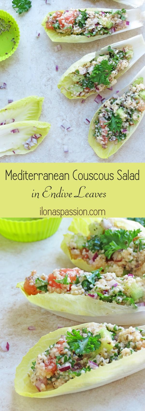 Delicious, full of flavor and healthy Mediterranean Couscous Salad Recipe stuffed in endive leaves #salad #couscous #Mediterranean