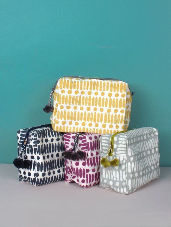 Hand Block Print Wash Bag, Dot Dash