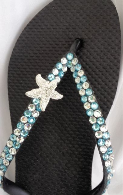 Starfish Rhinestone Swarovski Crystal Flip Flops - Click image to find more shoes posts