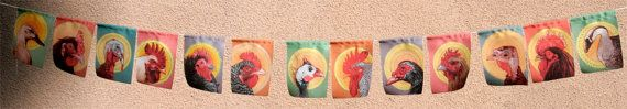 Barnyard Birds 13 small prayer flags / garden by MirandaGrayStudio, $21.00