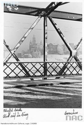 Most Dębnicki, w tle Wawel. Styczeń 1940