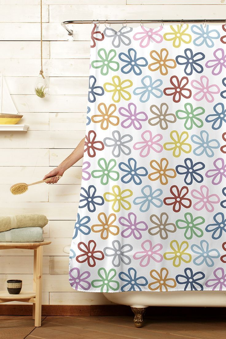 Colorful Daisies Flower Shower Curtain Decor Contemporary Shower