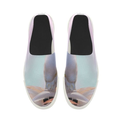 Flamingo Pink Mint Apus Slip-on Microfiber Women's Shoes(Model 021)
