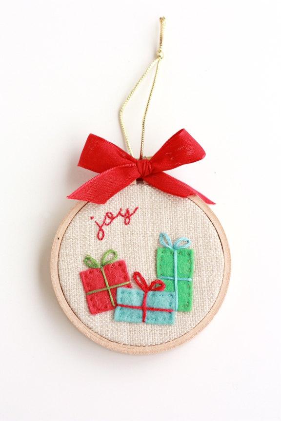 Gifts bring joy quot hoop art christmas ornament via