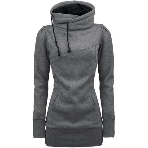 Long Sleeves Hooded Draw String Pockets Beam Waist Korean Style Casual Women's Hoodie