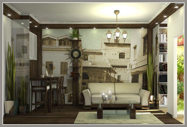 Комната в коммунальной квартире. Вид на гостиную зону