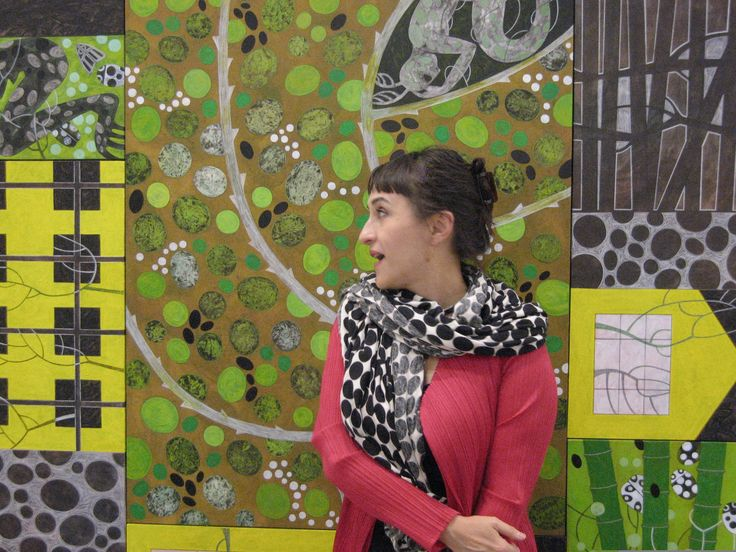 Marianna Bussola and one of her paintings