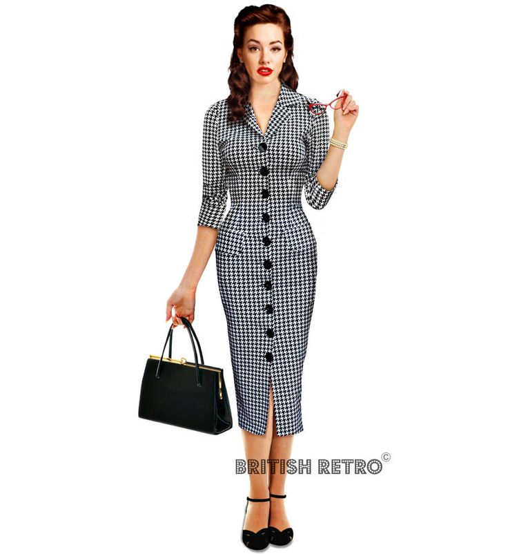 Houndstooth Vintage Style Pencil Dress