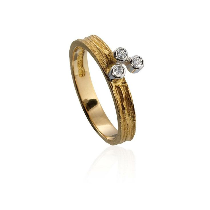 "Björn Weckström for Lapponia Jewelry ~""Diamond Drops"" ring, 18k gold and diamonds. 