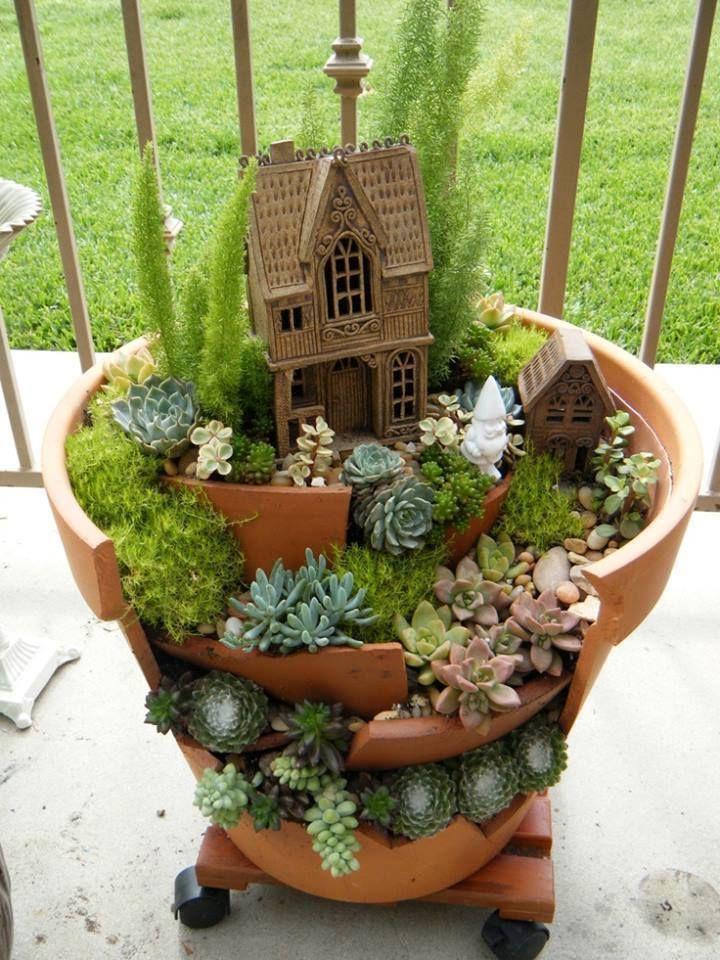 from broken pots to fairy gardens