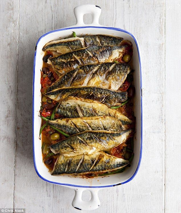 Baked mackerel - oily fish - tasty, good for you and cheap. I'd probably take off the skin though.