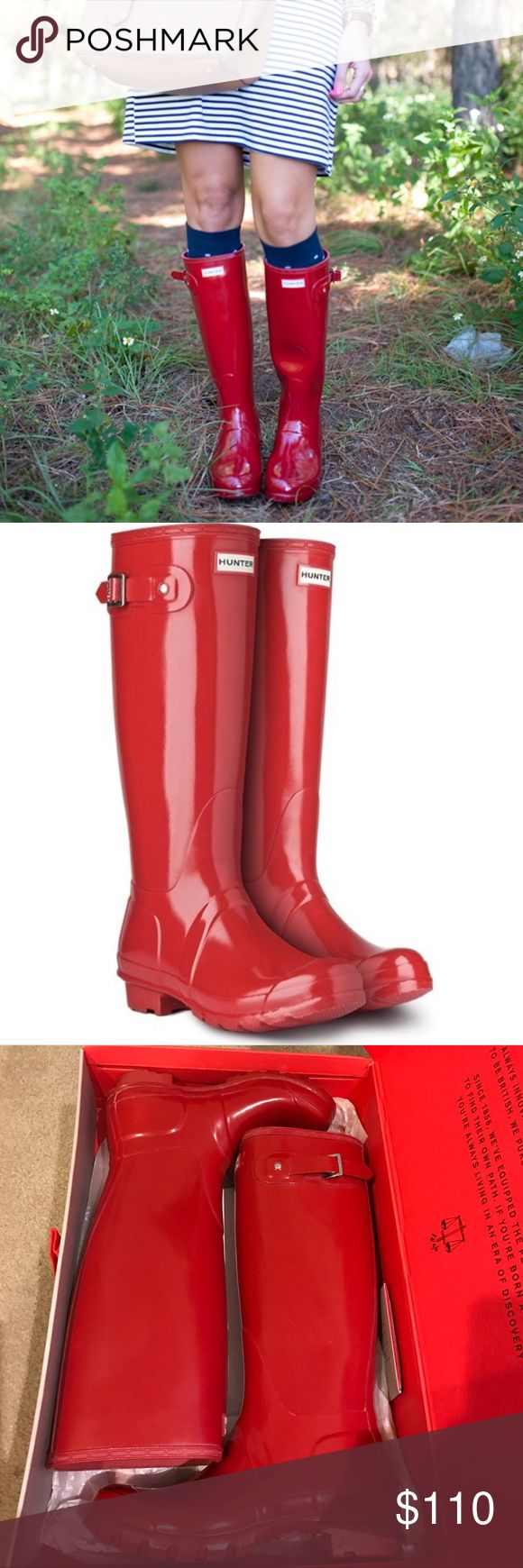 Hunter original tall gloss red rain boots new! Brand new in box. Military red color. Authentic Hunter Boots Shoes Winter & Rain Boots