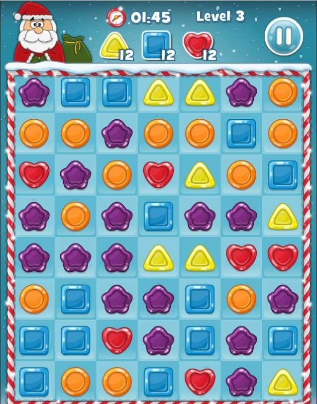 Noel baba zamanında yetişemeyecek. Lezzetli şekerleri toplamasına yardımcı olur musunuz? Aynı renkteki şekerleri mouse ile birbirine bağlayarak toplayın. İyi eğlenceler.