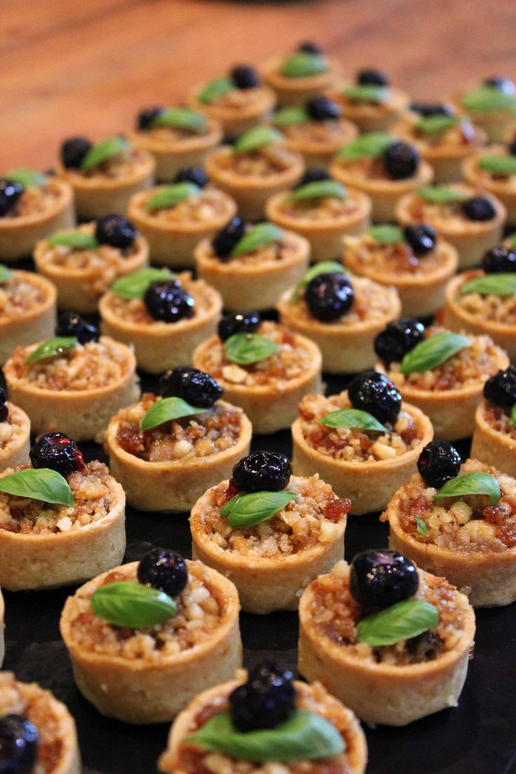 Macadamia and banana honey tarts by Cnk Catering