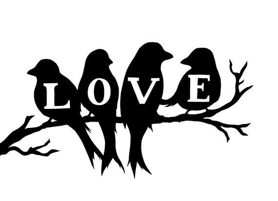 Hand cut 'LOVE' silhouette from Birds & Branch stamp.