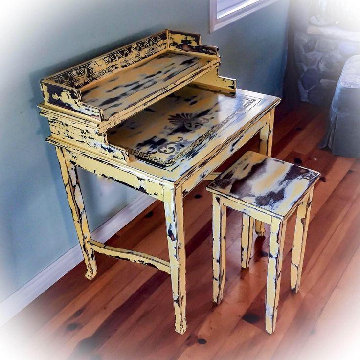 Distressed, Vintage Desk, yellow, farmhouse, shabby chic desk, rustic desk, painted furniture, rustic furniture, accent piecies, desk, yellow desk, https://www.etsy.com/listing/580391809/distressed-vintage-desk-yellow-farmhouse