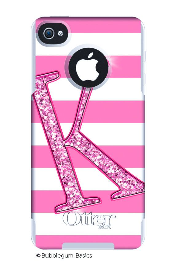 OTTERBOX Commuter iPhone 4/4s HTC Evo 4G Case Hot Pink Stripes Glitter Initial Personalized Monogram - Free Matching Wallpaper. $55.00, via Etsy.