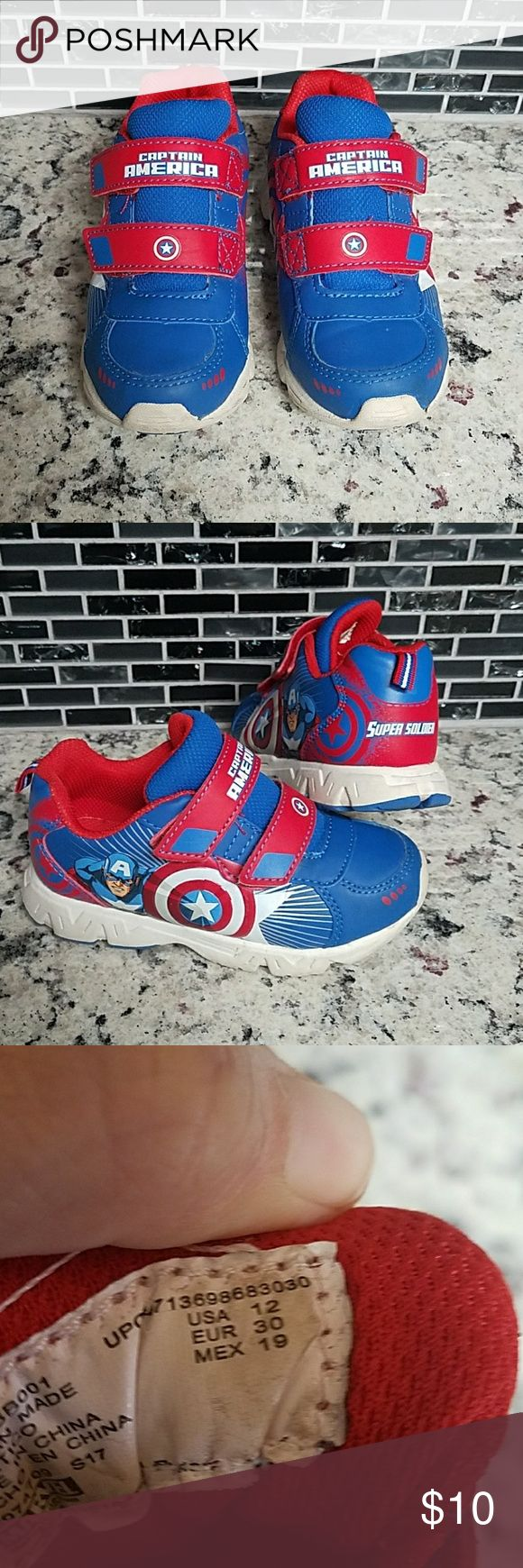 Marvel Captain America Boys Sneakers Marvel Captain America Boys Sneakers with Velcro Closure.  Very little wear as they were only worn a handful of times before he out grew them.  Excellent Condition.  Sz. 12 Marvel Shoes Sneakers