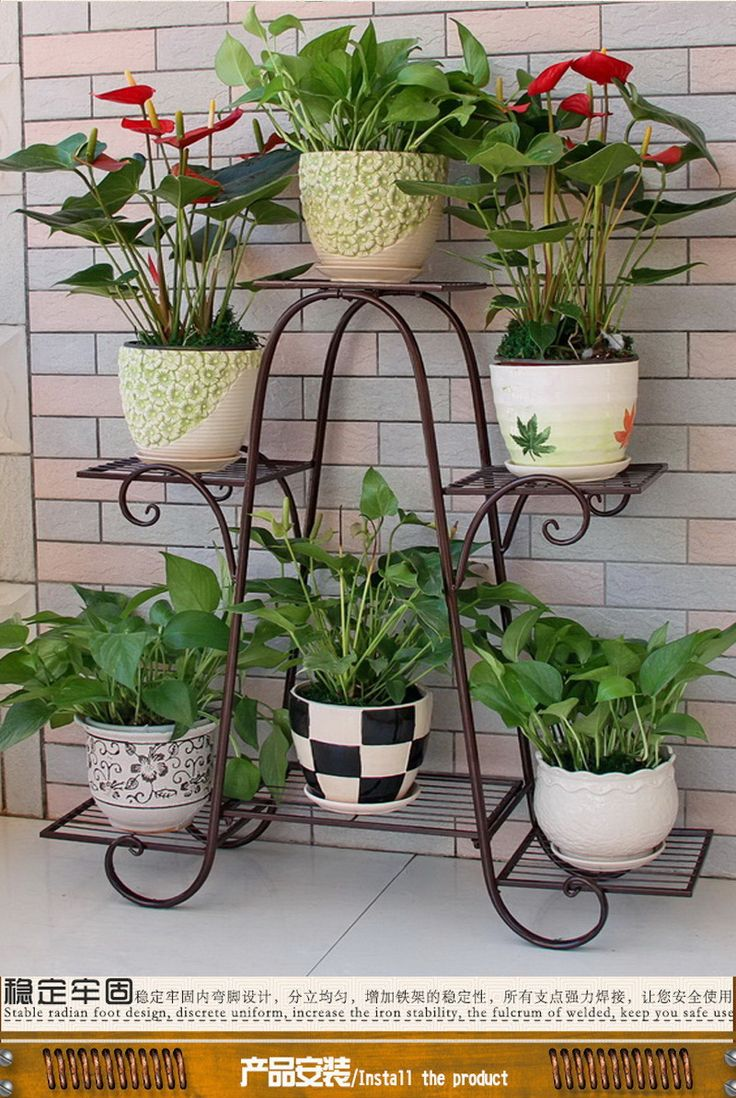 6 Layers of Iron Flower Shelf Plant Holder Flower Pot